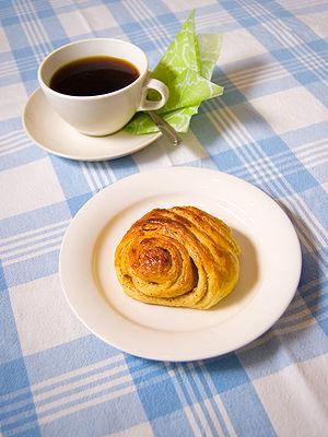 A Finnish cinnamon roll, korvapuusti.